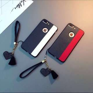 Elegant Red / White Stripe Case Cover for iPhone 7/7+/8/8+/X