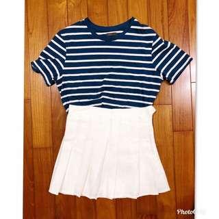 藍色條紋加百褶裙