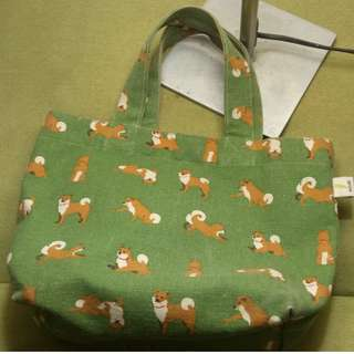 日本WASABI帆布手提包-綠色/柴犬