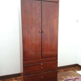 Solid wood 2 door wardrobe cupboard with lock keys