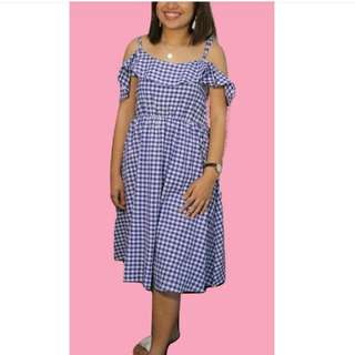 BN Blue Gingham Midi Dress (cold shoulder)