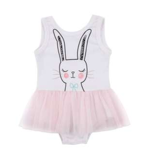 Sleeveless Rabbit Jumpsuit with Pink Skirt for Babygirl