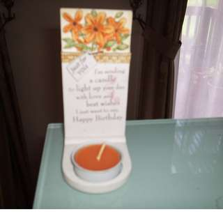 Sentimental birthday tea light candle holder.