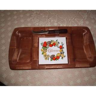 Cheese Platter Tray Set with matching knife.