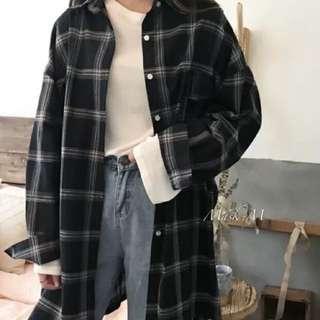 百搭款✨寬鬆大格子長袖中長款襯衫外罩衫