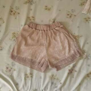 Glittered pastel pink shorts