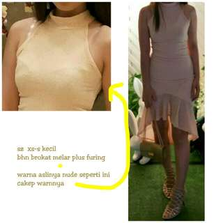 Re-price Dress brokat nude