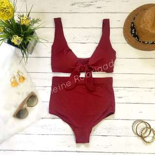 Carrie high waist swimsuit in maroon