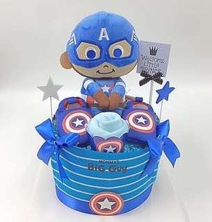 Baby Diapers Cake - Marvel Cpt America