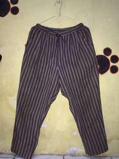 Celana bahan [pinggang karet] untuk org tinggi/pendek cocok. All size fir to M