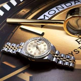 SOLD-       Rolex TT Lady Datejust With Diamond Dial & Bezel