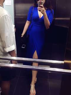 Forever 21 Blue wrap dress with slit