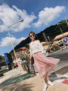 (Pink) Mesh Lace Embroidery Skirt