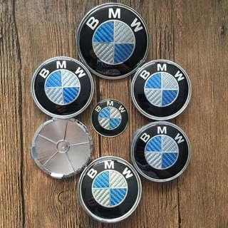 經典藍白 碳纖維 BMW 7件套組 前後標含底座 輪圈中心蓋貼紙含底座 方向盤貼 標誌 貼標 卡夢E28 E30 E34
