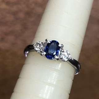 Pt900 diamond sapphire ring