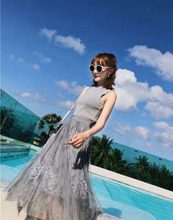 (Grey) Mesh Lace Embroidery Skirt