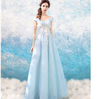 Beautiful pastel colour, Light Blue Korean wedding gown, evening , DND, Pageant, Birthday gown