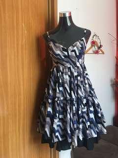 Printed Wrap Ruffle Dress