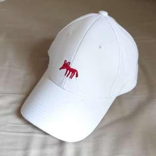 [全新] 刺繡狐狸 白色棒球帽 老帽