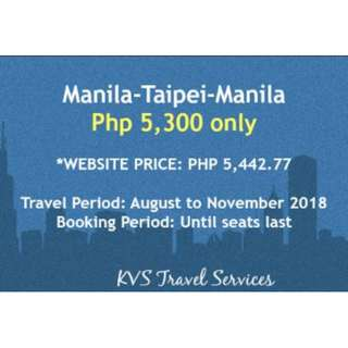 CHEAPEST AIRFARE TICKET!! MANILA-TAIPEI RT