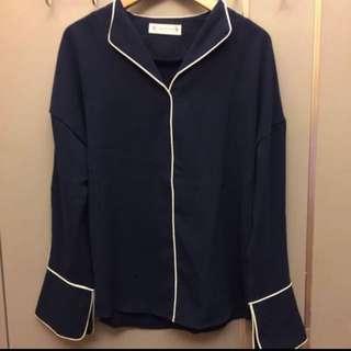 🚚含運🚚全新 韓 藍色雪紡上衣
