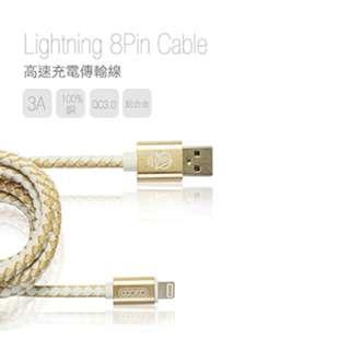 🚚 皮革編織傳輸充電線3A快充 iphone ipad全鋁合金充電傳輸線-1.2米