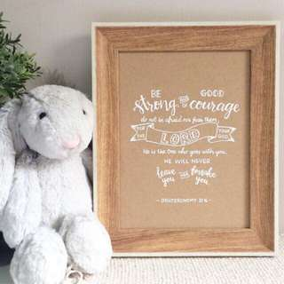 Customized Calligraphy in Wooden Frame (calligraphy, lettering, typography, bible verse, customised, nordic, photo frame, decor, housewarming, gift)