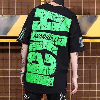 《預購》嘻哈潮牌OVERSIZE落肩街頭潮流T恤寬鬆字母印花hiphop潮男短袖