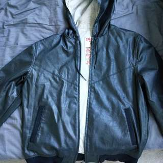 Zara black leather design jacket