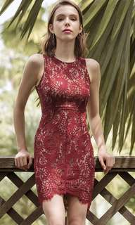 BNWT Treslovechic Wine Red Lace Dress in Size S