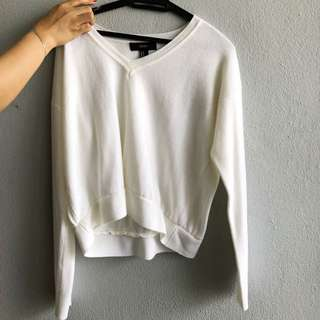 Forever 21 Oversized V-Neck White Sweater