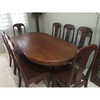DINING TABLE 8 SEATER SOLID WOOD