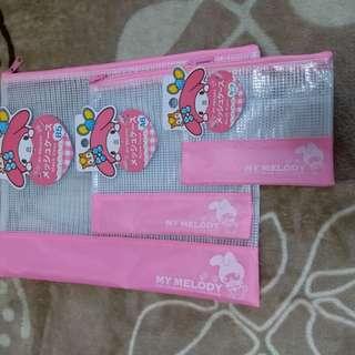 日本  sanrio My MElODY 文件袋  1 set3 件 65元包郵