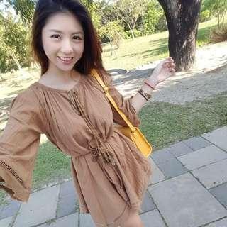 駝色波西米亞洋裝