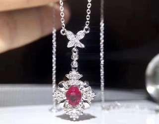 18K白金 緬甸紅寶石鑽石項鍊