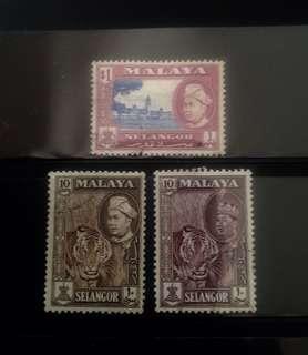 Malaya 1961 Selangor Def 3V Used (M1095)