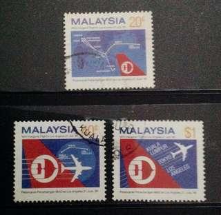 Malaysia 1986 Inaugural Flights of MAS to Los Angeles 3V Set Used SG355-357 (0298)