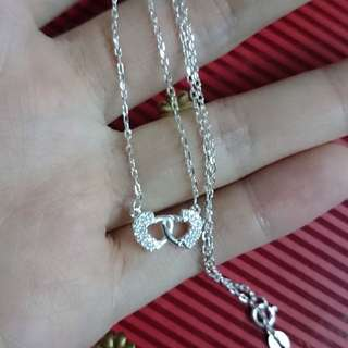 Genuine 925 Sterling Italy Silver Duo Hearts Entwined Necklace