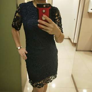 BNWT Crochet Lace Dress Navy Blue