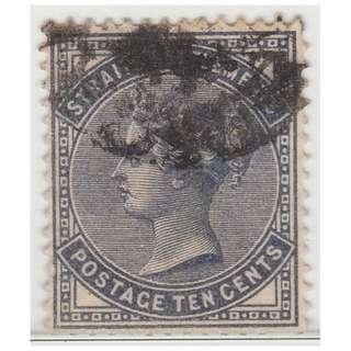 MALAYA 1882 Straits Settlements Queen Victoria 10c wmk CrownCA (used) SG #52 (1391)