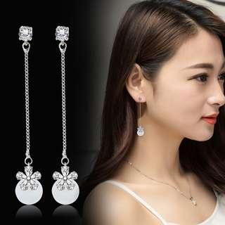 New Korean Fashion Cat's Eye Stone S925 Pearl Earrings