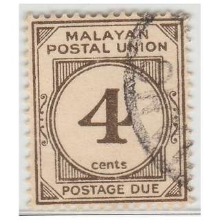 Malayan Postal Union 1953 Postage Due 4c used wmk MSCA  P.14 SG #D17  £7 (M1321)