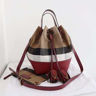 Authentic Burberry Small Canvas Check and Leather Bucket Bag