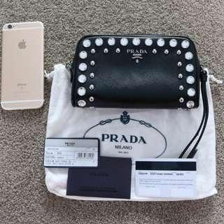 Prada black Saffiano Vernice Crystal leather wristlet bag