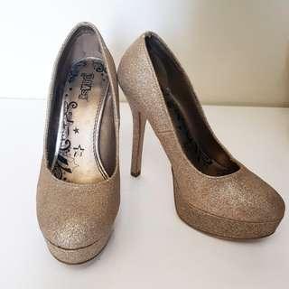 REPRICED!! Payless Glittered Gold High Heels