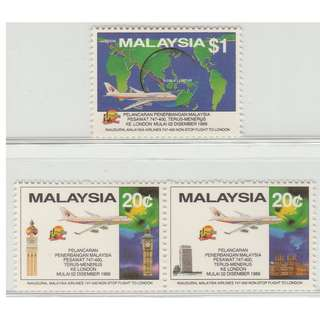 Malaysia 1989 Inaugural Malaysia Airlines 747-400  Non-Stop Flight to London set of 3V Mint MNH SG #427-429 CV £10