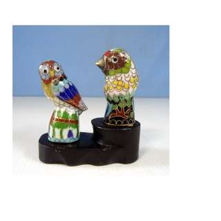 Vintage cloisonne owl & bird display wood stand circa 1950s retired unused
