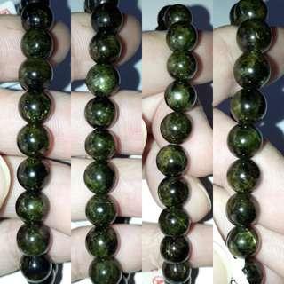 🎆Special Offer🎆 Rare and Unique, Epidot bracelet.(绿帘石手链) Nice deep green. Origin Mexico.