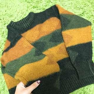 韓國購入復古配色超保暖毛衣