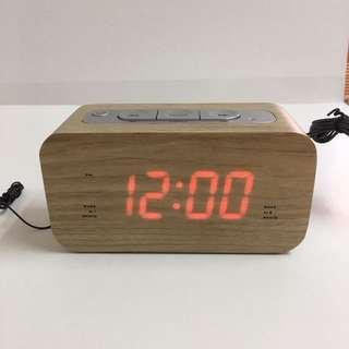 清倉!平售!全新!木箱鬧鐘收音機
